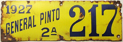 $ CDN207.76 • Buy 1927 Argentina Porcelain License Plate Tag - General Pinto - Buenos Aires