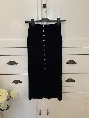 Primark Black Knitted Pencil Skirt With Gold Buttons (Size 4/6) (P22) • 5.99£