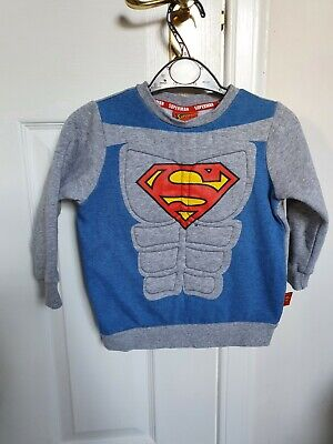 Boys Superman George Jumper 2-3 Years With Padded Six Pack • 2.50£