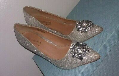 Dune HOH Ladies Silver High Heel Party Court Shoes Size 6 / 39    Jewels / Beads • 6.99£