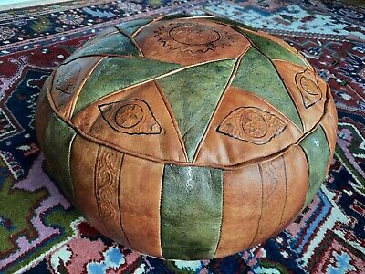 Large Leather Moroccan Pouffe • 12.50£
