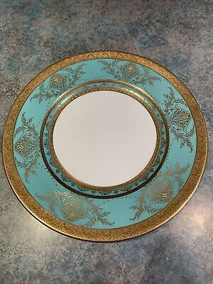 Stunning Minton Green And Raised Gold Studded Cabinet / Dinner Plate. • 49.99£