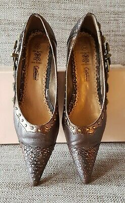 Catherina Ladies Brown & Bronze Studded Court Shoes Size 39 • 5£
