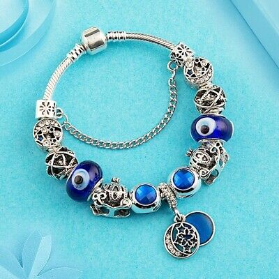 AU25 • Buy Blue Silver Plated Crystal Charm Bracelet By Pandora's Queen