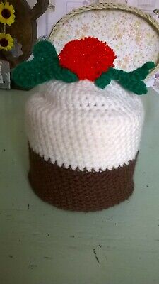 Christmas Pudding Toilet Roll Cover Hand Crochet Acrylic Wool • 4.99£