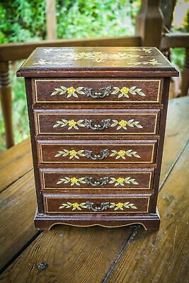 Vintage - Collectors Cabinet Drawers - Jewellery Box - Hand Painted - Musical  • 25£