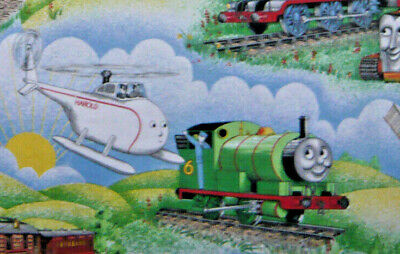 """Vintage Thomas The Tank Engine With Harold Fabric Large Remnant 33  X 17"""" • 6£"""