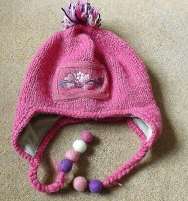 Pachamama Bobble Hat - Pink And Purple - 100% Wool - With Felt Pompom Detail • 10£