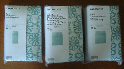 IKEA ANGSSALVIA Duvet Cover Pillowcase (s) White Turquoise Twin Full Queen King • 28.02£