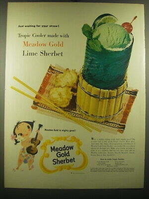 £12.34 • Buy 1954 Meadow Gold Lime Sherbet Ad - Just Waiting For Your Straw! Tropic Cooler