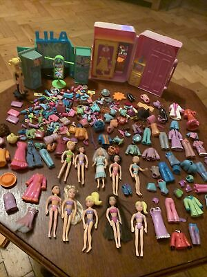 Huge Polly Pocket Bundle Dolls LOTS Of Clothes Bags Shoes Lila Show Wardrobe • 26£