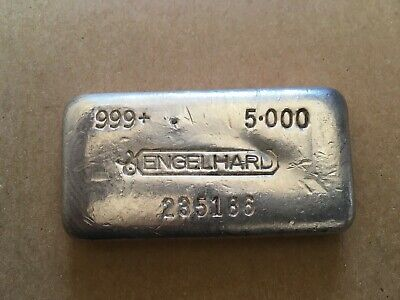 $ CDN291.27 • Buy ENGELHARD 5 Oz. SILVER BAR POURED BAR 999+ CANADIAN BULLHORN LOGO STAMP NICE****