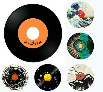 £2.19 • Buy Personalised Coaster Add Text Name Drink Mat Vinyl Music Disc UK Based
