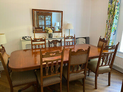 2.7m Long Extending Yew Dining Table And 8 Edwardian Harlequin Antique Chairs. • 175£