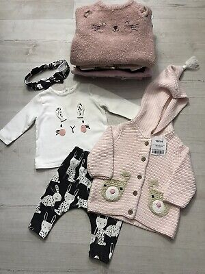 Baby Girls Clothes Bundle 0-3 Months Next Bunny Sleepsuits Outfits Cardigan • 3£
