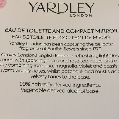 Yardley English Rose Gift Set EDT Perfume 125ml With Compact Mirror NEW • 3.50£
