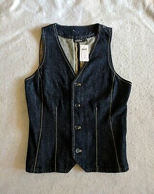 AU25.89 • Buy Kate Spade Saturday NEW Blue Womens Size 0 Denim Seamed Vest Jacket $120 Jean