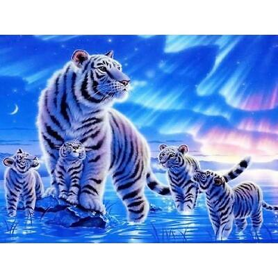 AU14.49 • Buy 5D DIY Full Drill Diamond Painting White Tigers Cross Stitch Embroidery Kit