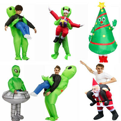 Scary Green Alien Ghost Snowman Inflatable Costume Blow Up Christmas Party Suit • 24.99£