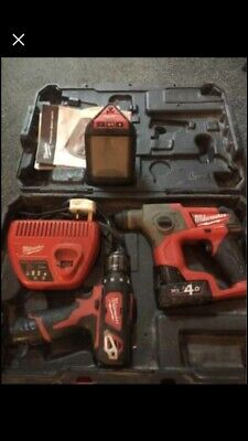 Milwaukee 12v Cordless Brushless Fuel Li-ion Drill And SDS & Bluetooth Speaker • 220£
