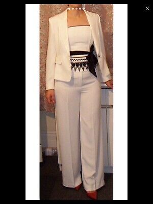 Woman's 3 Piece Suit - Trousers, Strapless Top And Jacket Suit , Size 12 White  • 39.99£