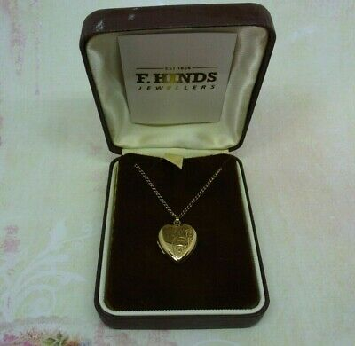 Vintage 9ct GOLD Double HEART Locket  ETCHED FLORAL  Strong GOLD 21  Chain - BOX • 115£