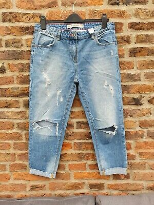 🌈 NEXT Slouch Boyfit Distressed Ripped Faded Wash Jeans UK10R High Waist Crop • 14.99£