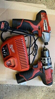 Milwaukee M12Set C12PD AndC12ID  Drill & Impact Driver,2 Batteries 1.5A, Charger • 149£