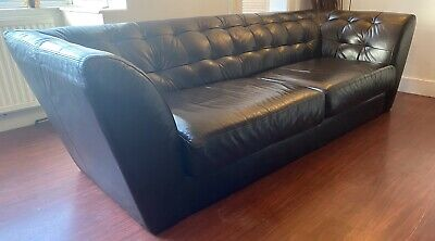 Rare Vintage Terence CONRAN Consent By Conran LEATHER  Sofa Settee Couch • 1,100£