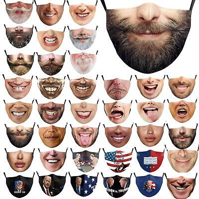 $ CDN11.35 • Buy 3D Unisex Reusable Washable Facemask Half Face Mouth Funny Face Protect Filter