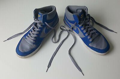 Nike Court Force Hi-Top Blue & Grey Leather-Mix Trainers - Lads Mens UK Size 10  • 28.99£