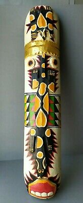 African Polynesian Painted  Carved Wood Tiki Mask • 19£