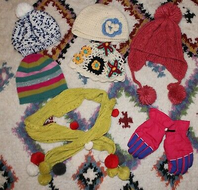 Large Girls Winter Hat Scarf Gloves Bundle Inc Marese Mamas & Papas - 7 Items • 3.99£