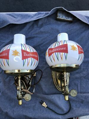 $ CDN360 • Buy (2) Vintage BUDWEISER Beer Metal & Glass Wall Sconces - 1960s Glass Version!