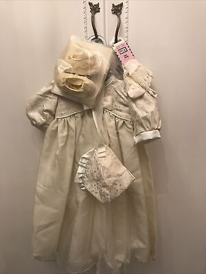 Vintage Baby Ivory / Cream Christening Gown Hat Socks And Shoes • 25£