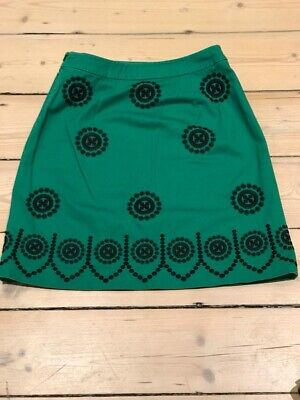 Boden Green Embroidered Mini Skirt, Size 10P, Small On The Waist, Black Accents • 0.99£