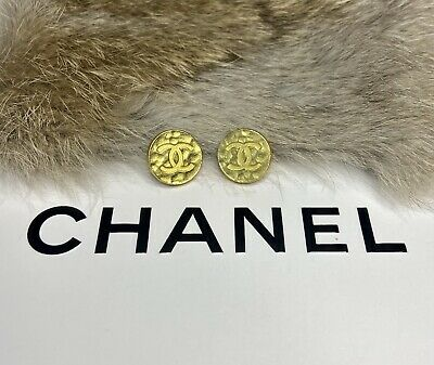 (2) Chanel Buttons Hammered Gold Stamped Button Lot • 32.22£