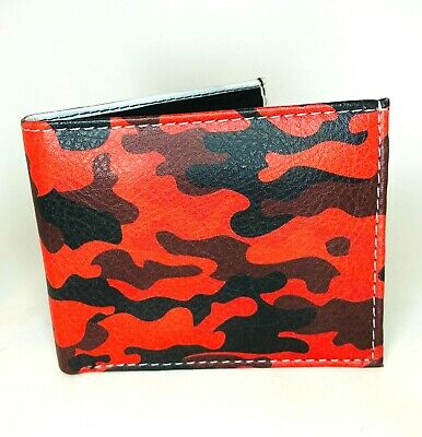 $9.49 • Buy RED Camouflage Print Men's Bi-fold Leather Wallet Design In Gift  Box
