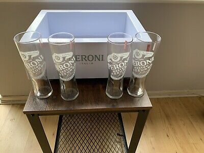 Peroni Ice Bucket And  X4Pint Peroni Glasses. Size Fits 15-20 Beer Bottles. • 60£
