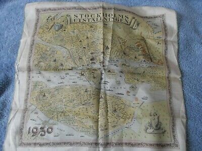 1930 Silk Map Of The City Of Stockholm • 3.75£