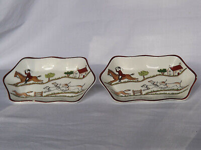 Coalport Hunting Scene - Pair Hexagonal Pin Dishes • 1.90£