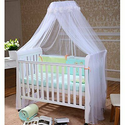 Baby Toddler Bed/Cot/Crib Princess Canopy Netting (White) • 13.99£