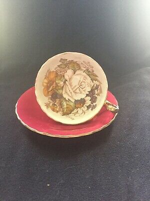 Aynsley English Bone China J A Bailey Cabbage Rose Cabinet Tea Cup And Saucer • 49£