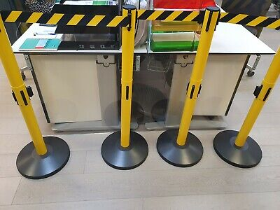 4 X Safety 2X3.4m Retractable Crowd Control Queue Barrier System Posts  • 80£