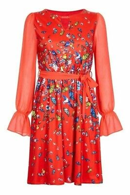 Yumi Curves Red Bird And Butterfly Digital Print Dress UK 14 • 14.95£