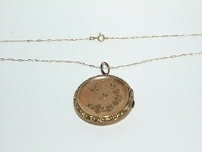ANTIQUE VICTORIAN 9ct GOLD BACK & FRONT LOCKET ENGRAVED BIRD DESIGN & 9ct CHAIN • 23.22£
