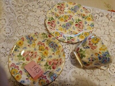 Aynsley Pretty Floral Tea Cup,Saucer & Side Plate • 15£