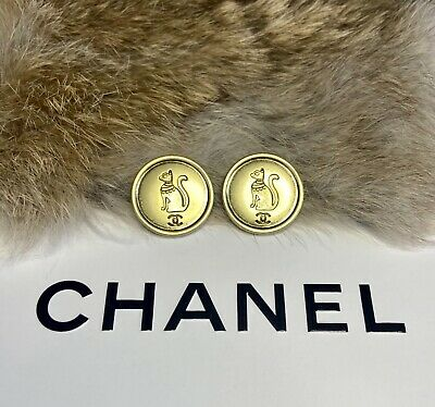 (2) Chanel Rare Cat Buttons Antiqued Gold Button Lot • 36.72£
