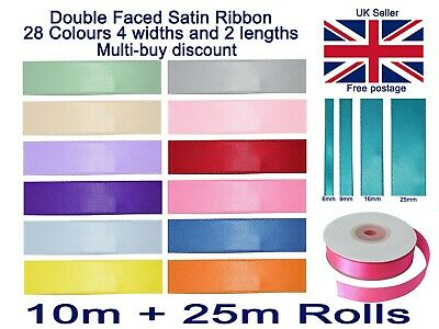 Satin Ribbon Double Sided 6mm 9mm 16mm 25mm In 10 Metre And 25 Metre Full Rolls • 2.49£
