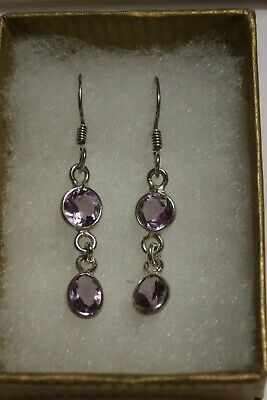 925 Sterling Silver Faceted Amethyst Drop Earrings • 12.90£